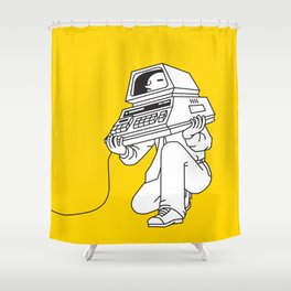 Computer head Shower Curtain