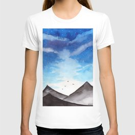 Blue Landscape with mountain T-shirt