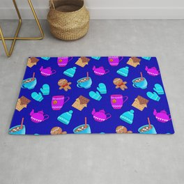 Lovely gingerbread men cookies, chocolate, hot cocoa with marshmallows cozy blue winter pattern Rug