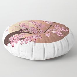 Blooming Sakura Branch on marble Floor Pillow