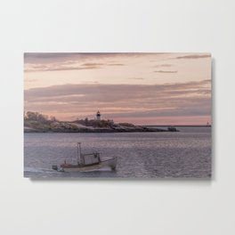 Ten pound Island Lighthouse sunset Metal Print