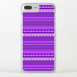 Modern Native Navajo Ethnic Tribal V.02 - Purple Color Clear iPhone Case