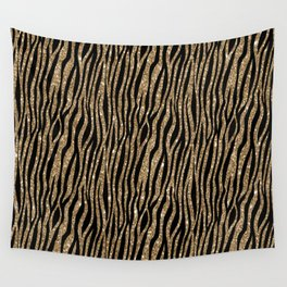 Black & Gold Glitter Animal Print Wall Tapestry