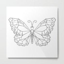 Polygonal Butterfly Monarch Metal Print