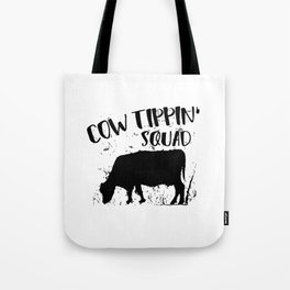 Funny Cow Tipping Design Tote Bag