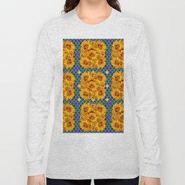 BLOCKS OF YELLOW SUNFLOWERS ON TEAL & PURPLE PATTERN Long Sleeve T-shirt