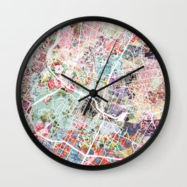 Austin map - Portrait Wall Clock