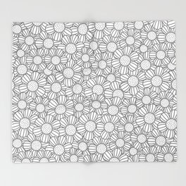 Field of daisies - gray Throw Blanket