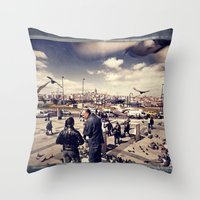 istanbul Throw Pillows featuring Istanbul by Anto Bozzini