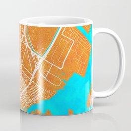 Elizabeth, NJ, USA, Gold, Blue, City, Map Coffee Mug