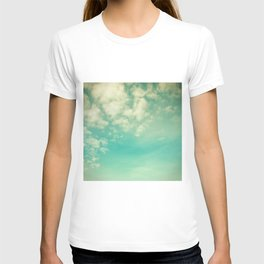 Retro Vintage Blue Turquoise Fall Sky and Clouds T-shirt