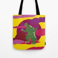 godzilla Tote Bags featuring GODZILLA by Mariery Young