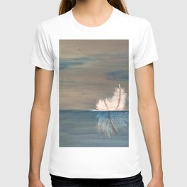 Floating Feather. Abstract Painting by Jodi Tomer. Abstract Feather on Water. T-shirt