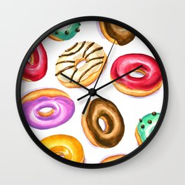 Colorful donut party pattern in watercolor Wall Clock