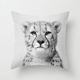 Cheetah - Black & White Throw Pillow