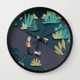 Walks down the midnight towpath Wall Clock