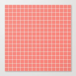 Coral pink - pink color - White Lines Grid Pattern Canvas Print