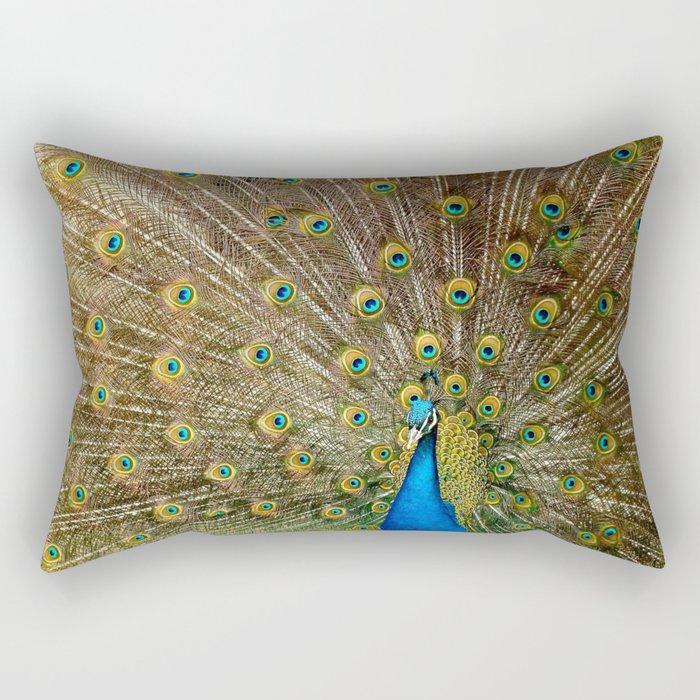 Peacock Spreading Feathers Rectangular Pillow