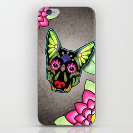 German Shepherd in Black - Day of the Dead Sugar Skull Dog iPhone Skin