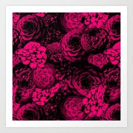 Moody Florals in Magenta Art Print