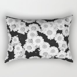 The Daisy Garden (Black and White) Rectangular Pillow