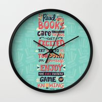 risa rodil Wall Clocks featuring Read Books by Risa Rodil