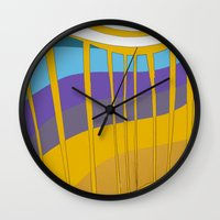 leah flores Wall Clocks featuring Leah by Jackie Elefante