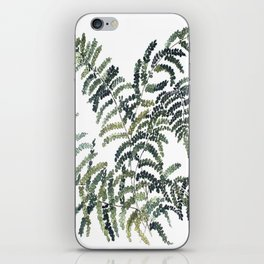 Woodland Fern Botanical Watercolor Illustration Painting iPhone Skin