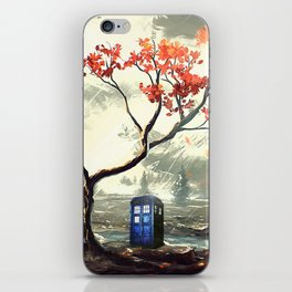 Tardis Art And The Tree Blossom iPhone Skin