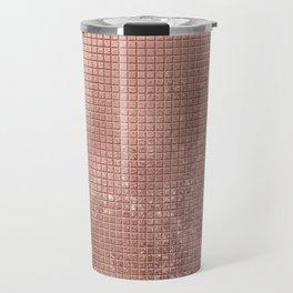 Beautiful Modern Rose Gold Square Pattern Travel Mug