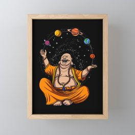 Zen Yoga Buddha Juggling Space Planets Meditation Framed Mini Art Print