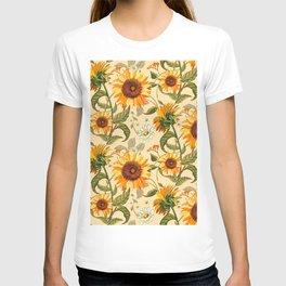 Sunflowers retro pattern T-shirt