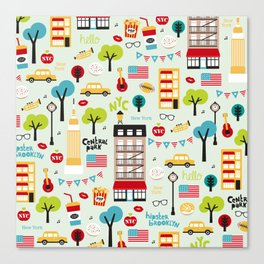 Fun New York City Manhattan travel icons life hipster pattern Canvas Print