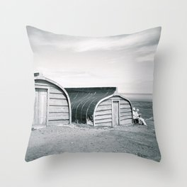 Holy Island Boat Sheds Throw Pillow