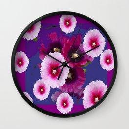 PURPLE PINK HOLLYHOCKS MODERN ART Wall Clock