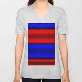 Red & Blue Horizontal Stripes Unisex V-Neck