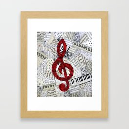 Red Treble Clef Framed Art Print