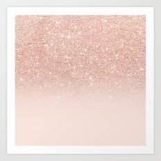 Rose gold faux glitter pink ombre color block Art Print