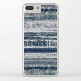 Expressive Indigo Watercolor Stripe Clear iPhone Case