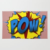 lichtenstein Area & Throw Rugs featuring Pop Art Pow in comic Lichtenstein style by Suzanne Barber