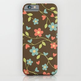 Elegant drawn floral pattern iPhone Case