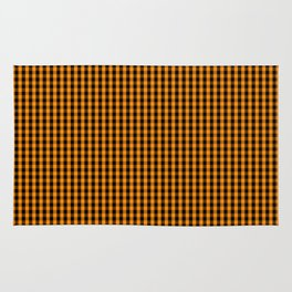 Small Pumpkin Orange and Black Gingham Check Plaid Rug