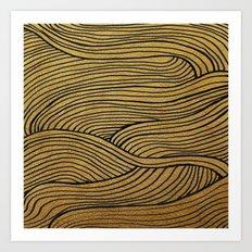 Wind Gold Black Art Print