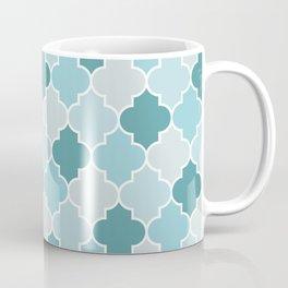 Moroccan Trellis, Latticework - Blue Gray White Coffee Mug