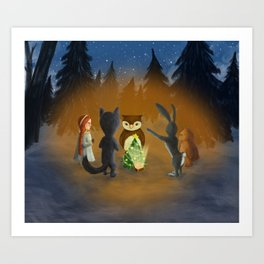 Christmas with magical friends Art Print