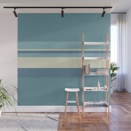 Horizontal Stripes - Muted Blue Wall Mural