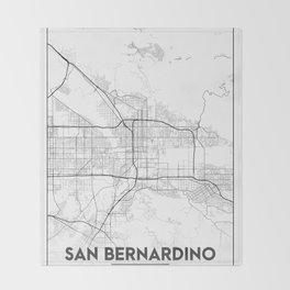 Minimal City Maps - Map Of San Bernardino, California, United States Throw Blanket
