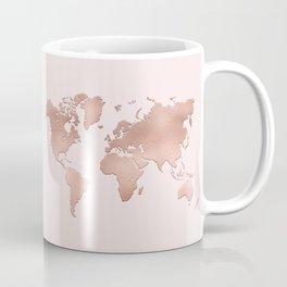 Rose Gold World Map Coffee Mug