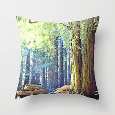 Picnic in the Woods Throw Pillow