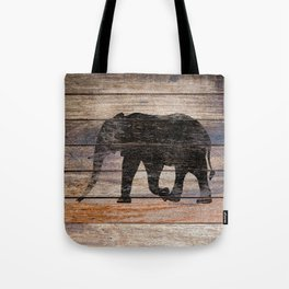 Rustic Elephant Animal Silhouette on Wood A215 Tote Bag